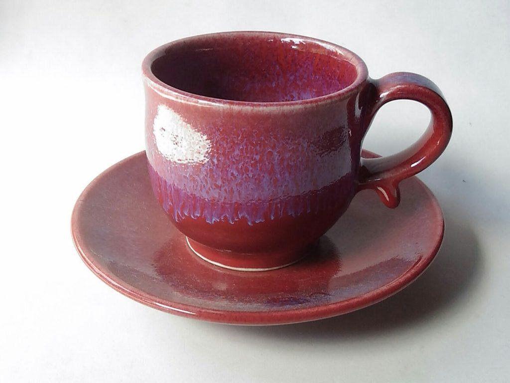 辰砂流れ模様コーヒーカップ&ソーサー