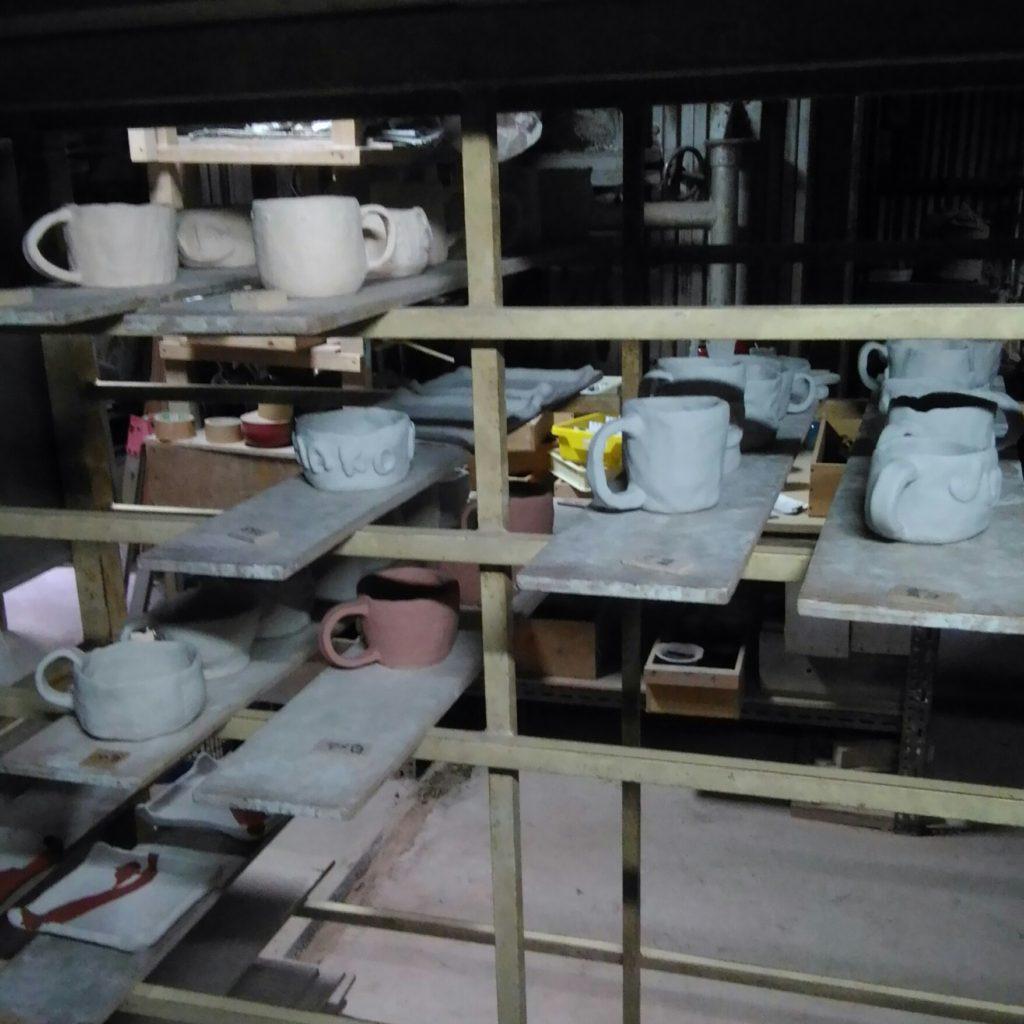 子供陶芸展作品焼成前