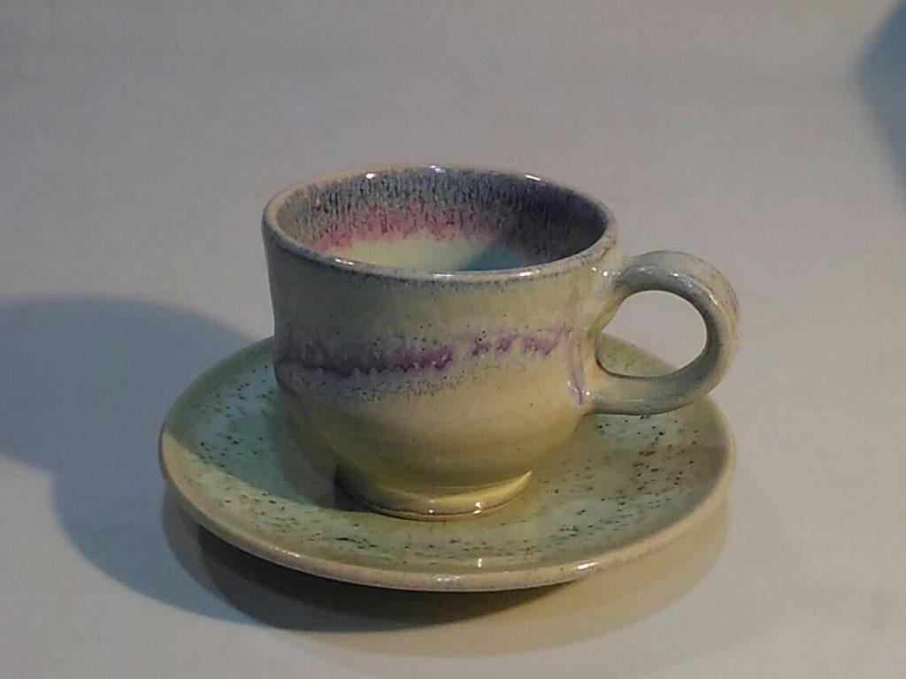 銅緑釉デミタスカップとソーサー