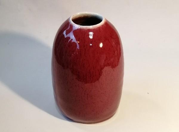 辰砂釉壷です。