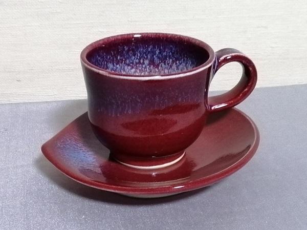 辰砂釉デミタスカップ&ソーサー