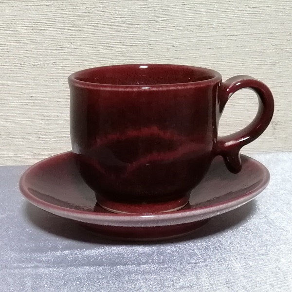 辰砂釉線文コーヒーカップ&ソーサー