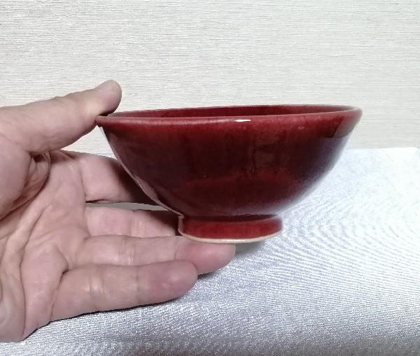 辰砂釉線文飯碗