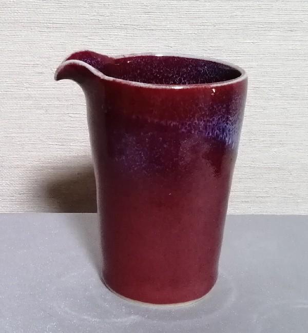 辰砂流し釉筒型片口